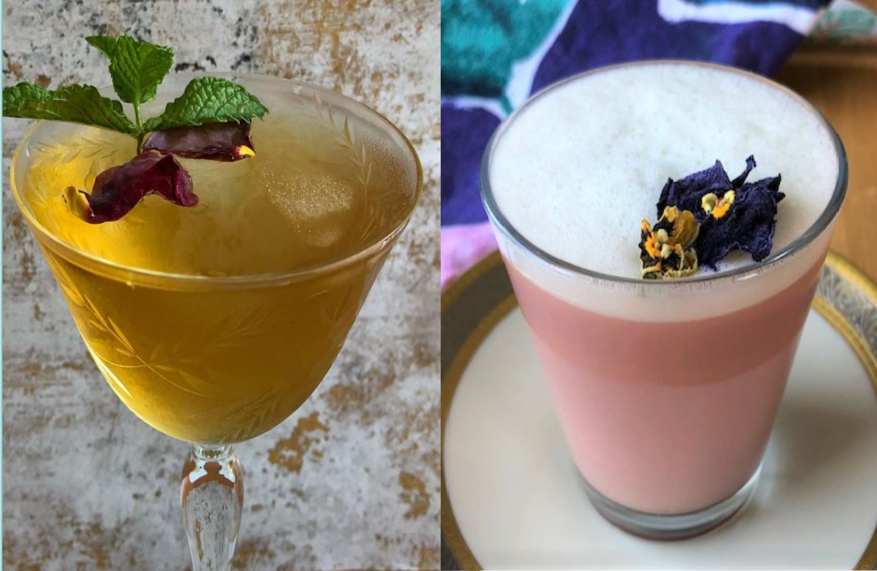 Iced tea in a cocktail glass, garnished with rose petals and mint and a pint latte garnished with edible pansy flowers