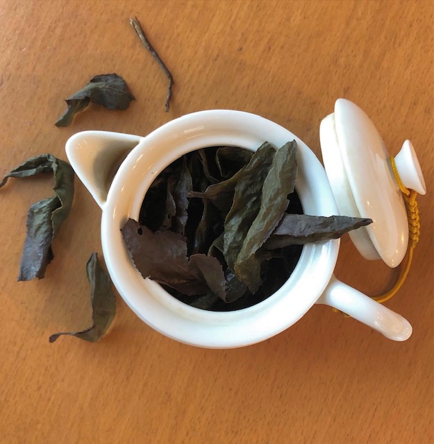 teapot with Tung Ting tea leaves spilling out