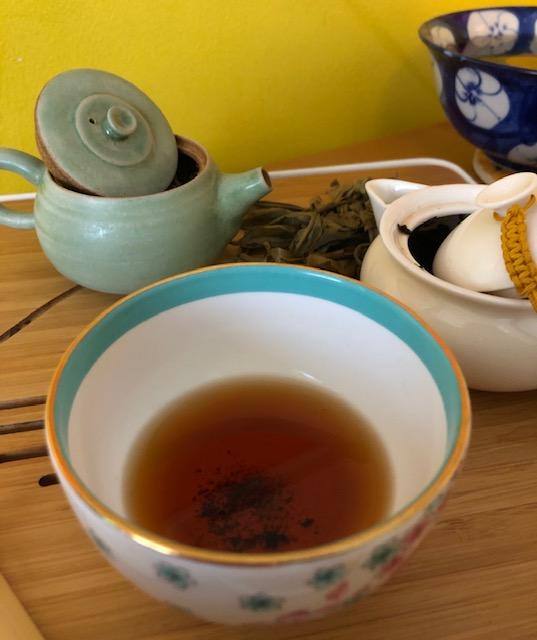 set up during virtual tea workshop on pu'erh tea