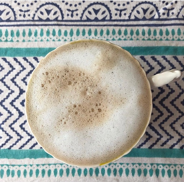 chai latte with frothed milk