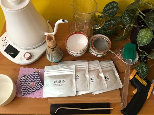set up during virtual tea workshop