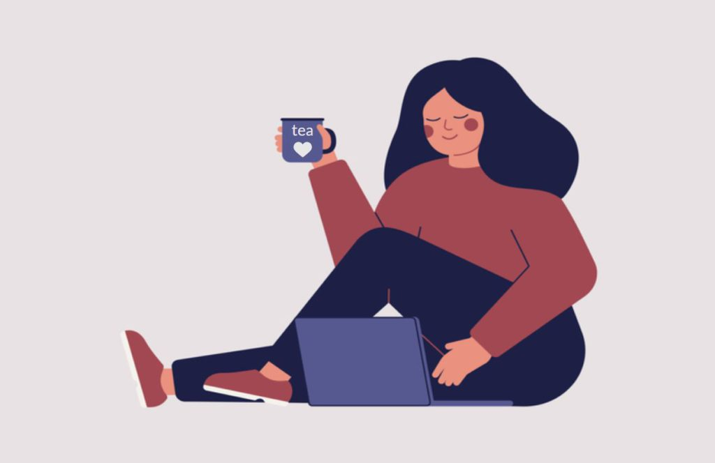 woman attending virtual tea talk